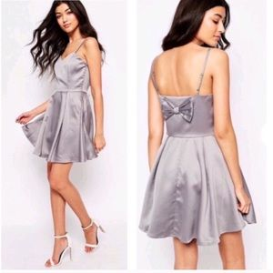 Asos Mela Loves London Back Bow Satin Skater Dress